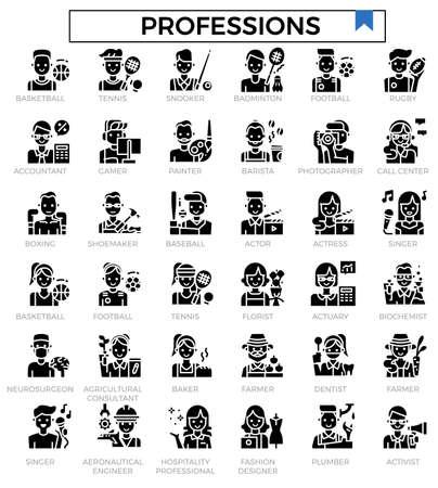 Professions glyph icon set.