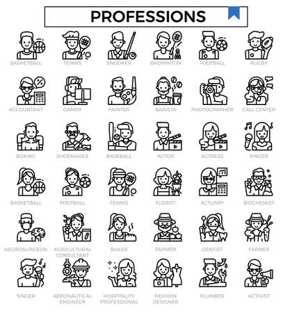 Professions avatar outline icon set.