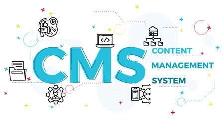 Illustration du concept de système de gestion de contenu, CRM.