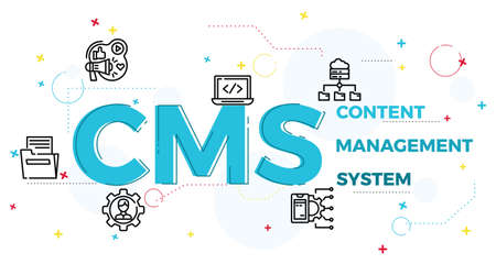 Illustration of content management system concept,CRM.