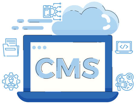 Illustration of content management system concept,CMS. Ilustração