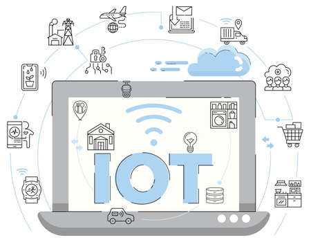 Illustration of Internet of Things, IoT with outline icons decoration.