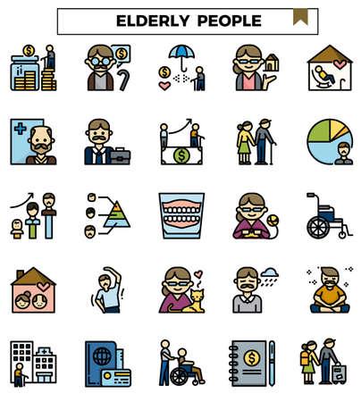 Elderly people icon set for website, column, presentation.