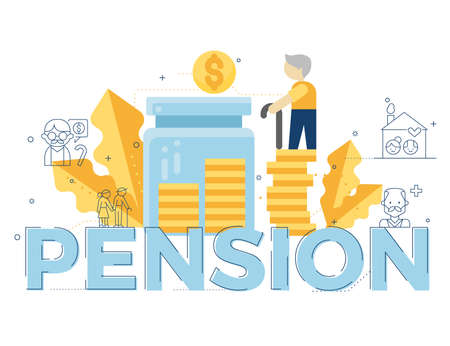 pension illustration for topic ,presentation, book.