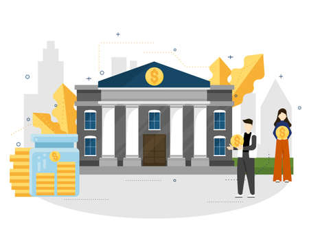 bank illustration for topic ,presentation, book.