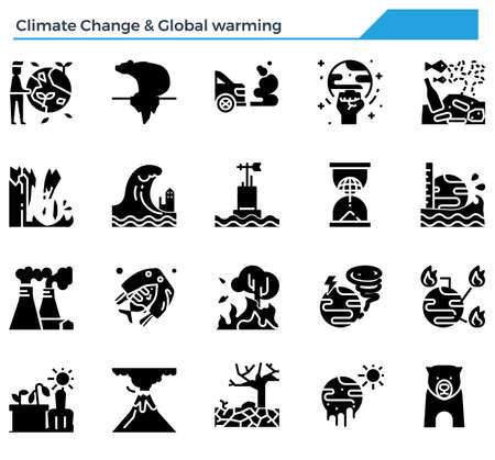 Climate change and global warming icon set.