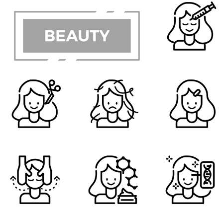 Beauty and cosmetics outline design icon set.
