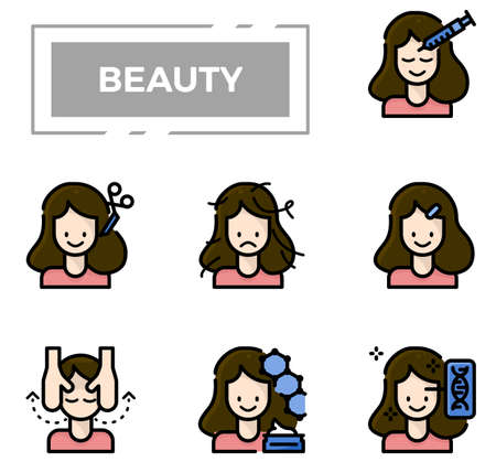 Beauty and cosmetics filled outline design icon set.