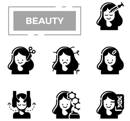 Beauty and cosmetics glyph design icon set.