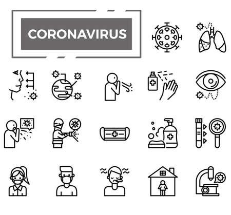 Coronavirus (Covid-19) icons for health issue, presentation, website and hospital. Vektorgrafik