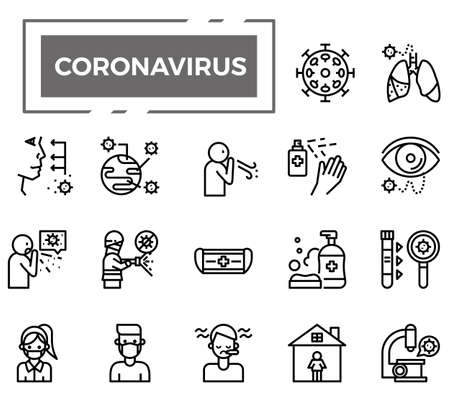 Coronavirus (Covid-19) icons for health issue, presentation, website and hospital.