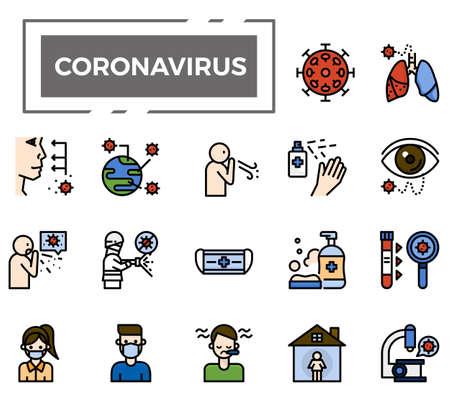 Coronavirus (Covid-19) icons for health issue, presentation, website and hospital. Vetores