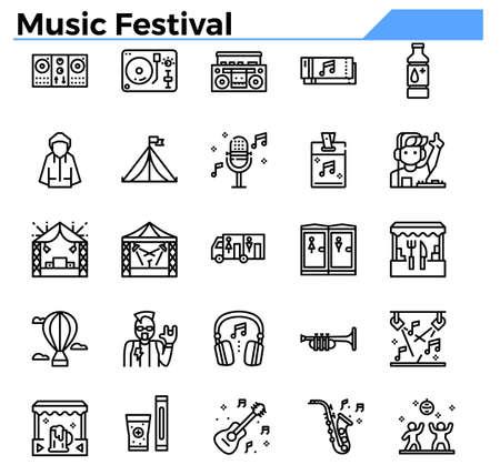 Music festival outline icon set. Ilustrace