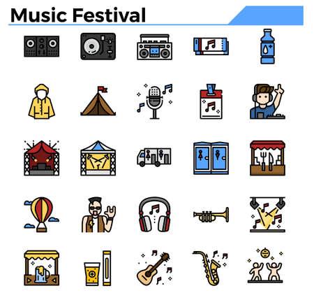 Music festival filled outline icon set.
