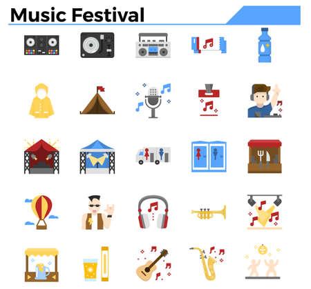 Music festival flat design icon set.