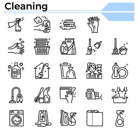 Cleaning icon set for website, daily hygiene issue and coronavirus protection. Ilustração