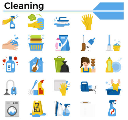 Cleaning icon set for website, daily hygiene issue and coronavirus protection. Ilustrace