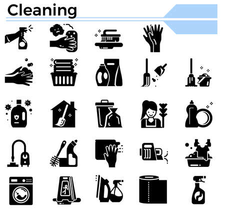 Cleaning glyph design icon set for website, daily hygiene issue and coronavirus protection.