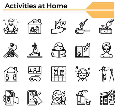 Activities at home icon set for website, daily hygine issue and coronavirus protection.