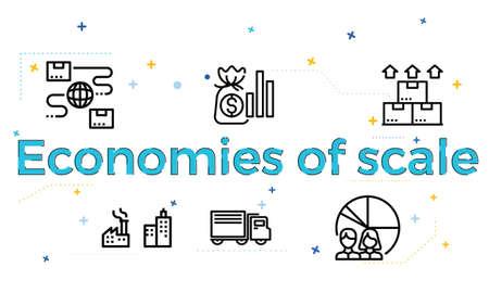 Illustration of Economies of scale Ilustração
