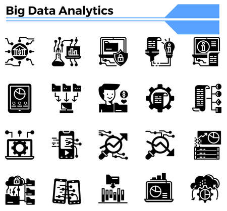 Big data analytics icon set for business , science,finance, analyst website.