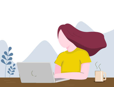 illustration of woman working on the table. Ilustrace