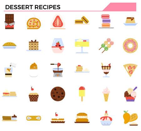 dessert recipes icon set for website, presentation, restaurant and cafe menu.