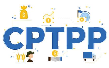 Illustration of Comprehensive and Progressive Agreement for Trans-Pacific Partnership (CPTPP) topic. Ilustração