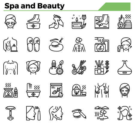 Spa and beauty icon set for website, presentation, book.