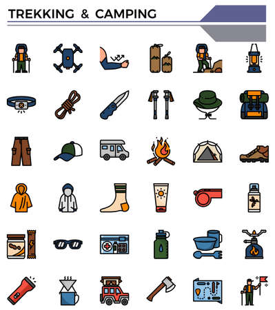 Trekking and camping icon set for teveling website, presentation, book. Ilustrace