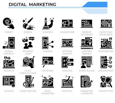 Digital marketing icon set for business management website, presentation, book.