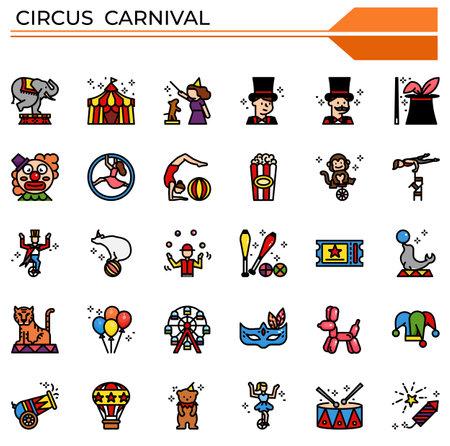 Circus carnival icon set for website, presentation, book.