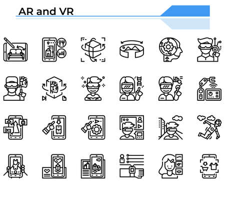 Augmented reality and virtual reality icon set for business management website, presentation, book. Ilustrace