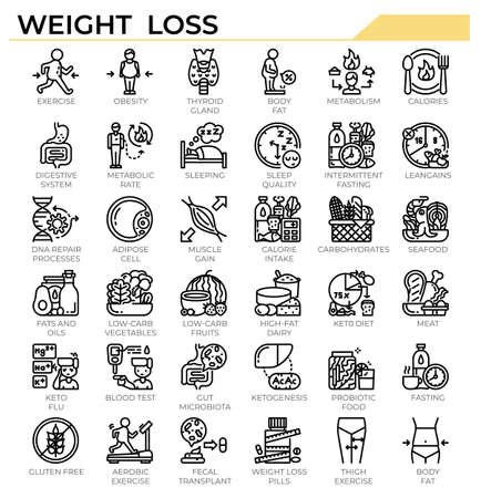 Weight loss and ketogenic diet icon set for science study, health issue and education website, presentation, book.