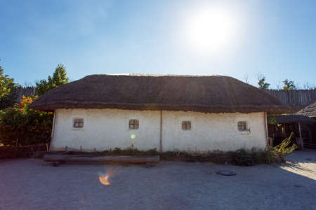 View on old museum clay house on the island of Khortytsya in Zaporozhye, Ukraine.