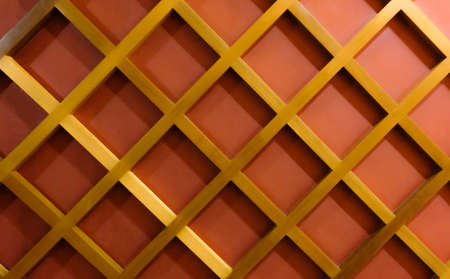 cor: Wall d���©cor by golden wood diamond pattern on red wall
