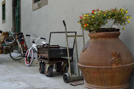 clay ceramic vase trolley bike closeup     photo