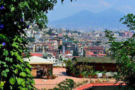 view of Naples and Mount Vesuvius down photo