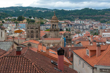 orense: Aerial cityscape of Ourense city in the north of Spain
