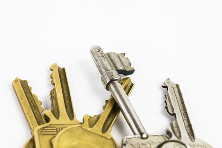 Bunch of Keys with White Background, close up. Stock Photo