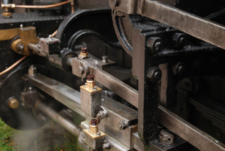 narrow gauge railway: Detail of small historic locomotive on the narrow gauge railway in Slovakia