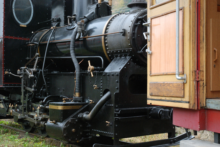 narrow gauge railway: Boiler of small historic locomotive on the narrow gauge railway in Slovakia