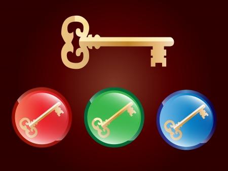 golden key: Illustration of a golden key and buttons badges Illustration
