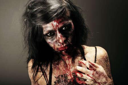 horror movie: Female Zombie Stock Photo