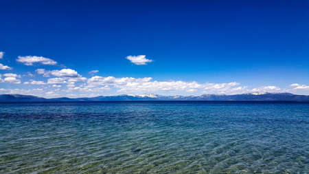 Lake Tahoe landscape with deep blue sky