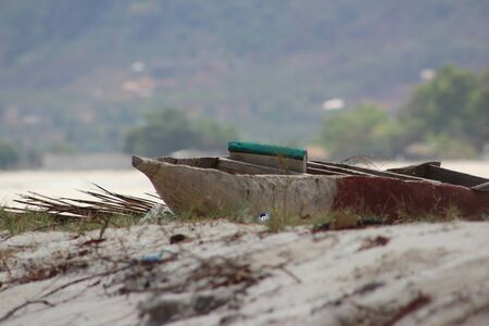 beached: Beached canoe in Freetown