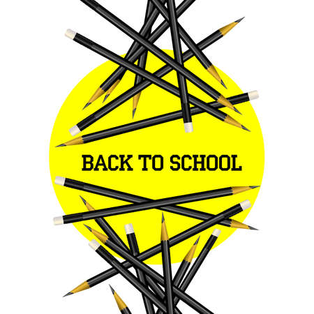learning series: Vector Pencil Yellow Circle Back to School Illustration