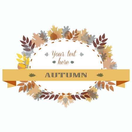 Autumn Leavas Frame. Vector Illustration Colorful Oak Maple Birch Branch.