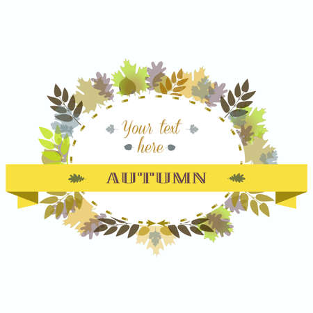 linden tree: Autumn Leavas Frame. Vector Illustration Colorful Oak Maple Birch Branch.