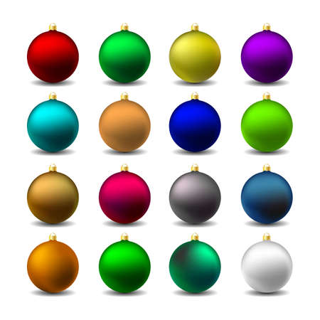 Set 16 Colorful Christmas Mat Balls. Vector iIlustration.